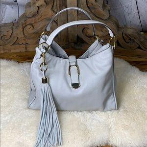 G.I.L.I. Gray Leather Hobo Bag Leather Tassel